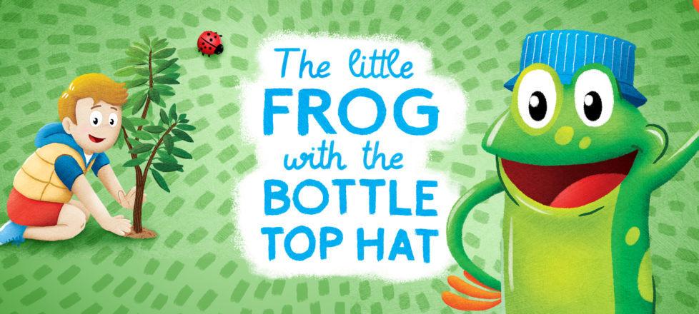 Little frog with the bottle top hat